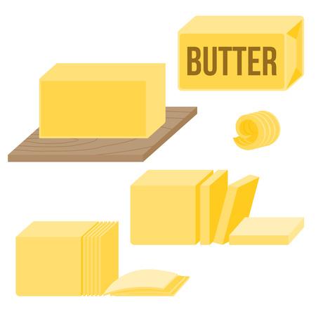 Boter in verschillende soorten, pictogrammen, zoals curl, bar, slice en op een houten bord, platte ontwerp vector