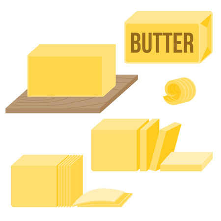Butter in various types, icons, such as curl, bar, slice and on wooden board, flat design vector
