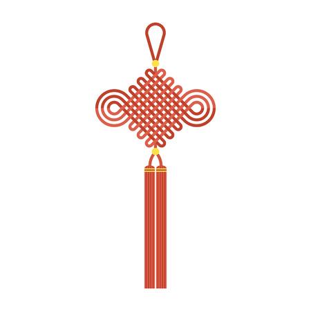 """Chinese knoop met kwast die in maan nieuw jaar gebruikt betekent """"wens veel geluk en fortuin komt"""", vlakke ontwerpvector"""
