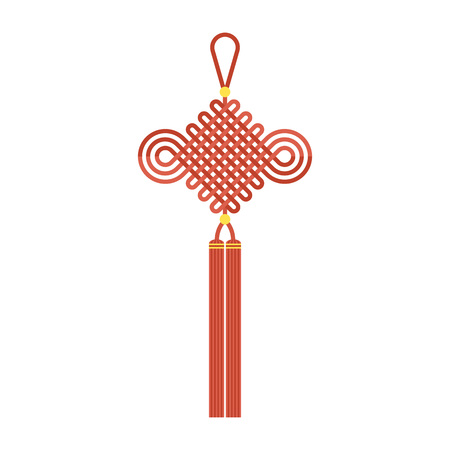 Chinese knot with tassel using in lunar new year means wish good luck and fortune comes, flat design vector