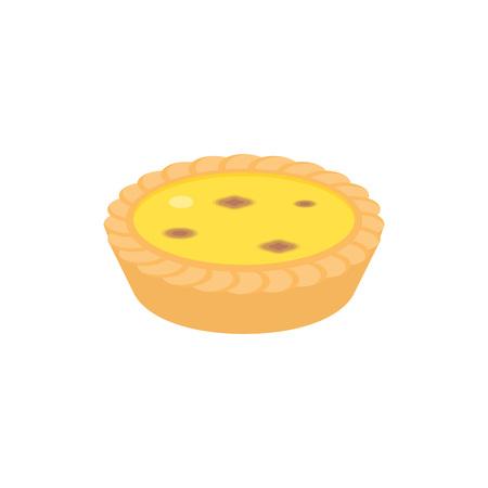Dim sum dessert, egg tart in cantonese style, flat design icon