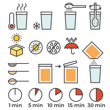 soluble: cooking sign instruction for manual on packing, flat design with thin line icon Illustration