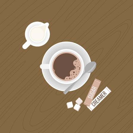 creamer: coffee with creamer and tea spoon on saucer, milk jug, sugar cubes, package of sugar and creamer on wooden background.