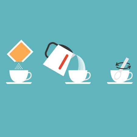 Step brewing instant powder for drink such as collagen, instant tea, cocoa, coffee, milk, flat design vector illustration