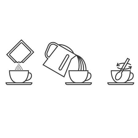 콜라겐, 인스턴트 차, 코코아, 커피, 우유, 윤곽선 디자인 벡터 일러스트 레이션과 같은 음료에 대한 인스턴트 파우더 양조 단계 일러스트