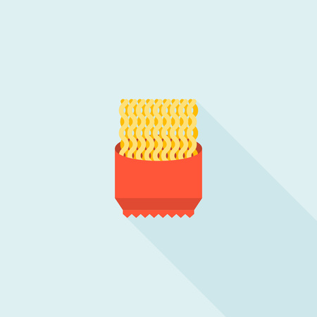 instant noodle icoon, platte ontwerp vector