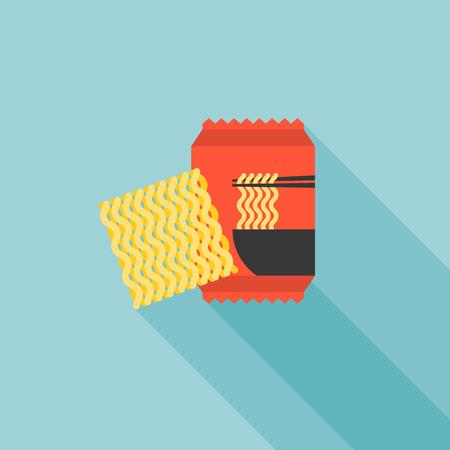 instant noodle icon, flat design vector Vectores