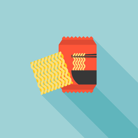 instant noodle icon, flat design vector Illustration