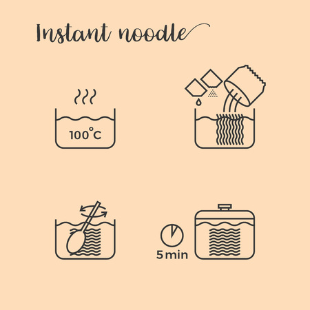graphic info of cooking noodles in pot step by step, outline icon