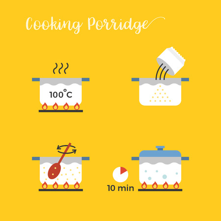 graphic info of cooking porridge in pot step by step, flat design vector