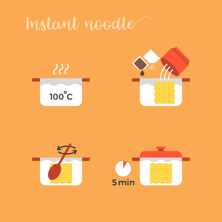 graphic info of cooking noodles in pot step by step, flat design vector