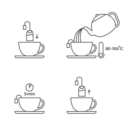 Tea preparation for use in packaging, outline icon Illustration
