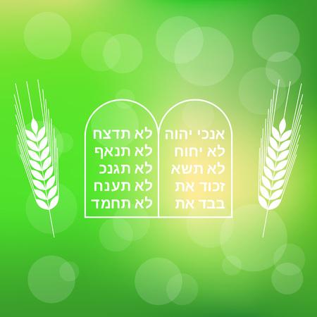 Ten commandment with barley on bokeh background for Shavuot festival Illustration