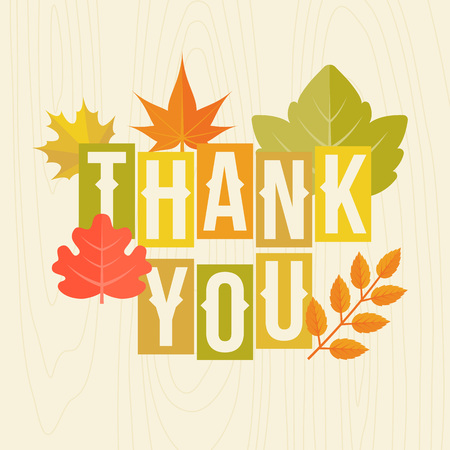 Thank you headline with autumn leaves poster for thanksgiving festival