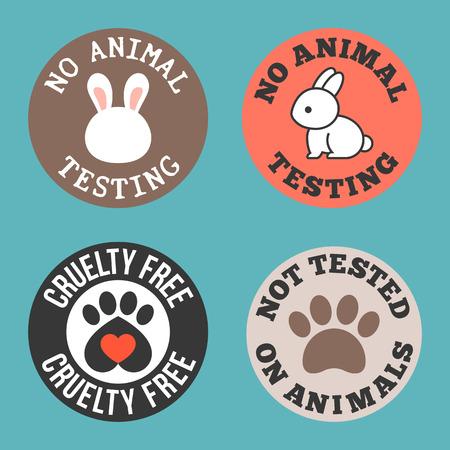 Geen dierproeven en wreedheid gratis voor gebruik in het etiket van cosmetische en farmaceutische producten, platte ontwerp tag