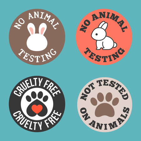 No animal testing and cruelty free for use in label of cosmetic and pharmaceutical products, flat design tag Vettoriali