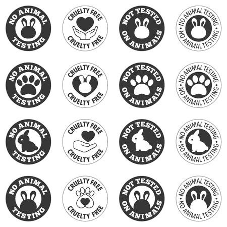 Ninguna prueba animal y crueldad libre para el uso en la etiqueta de productos cosméticos y farmacéuticos Ilustración de vector