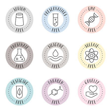 cosmetic and pharmaceutical badges in outline style for organic and natural products