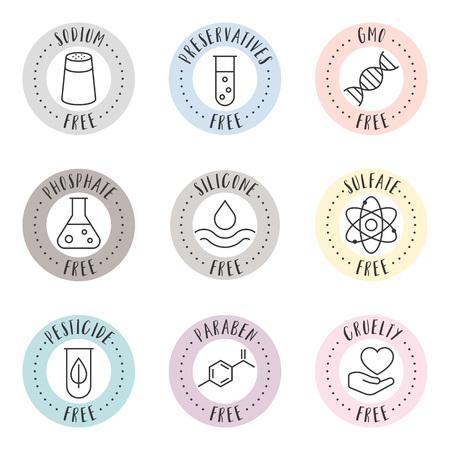 kosmetische en farmaceutische kentekens in overzichtsstijl voor organische en natuurlijke producten