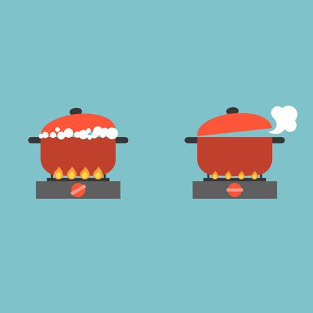 Kochen Topf auf Herd mit Blase und Dampf, Kochen Konzept flachen Design Vektor Standard-Bild - 79300283
