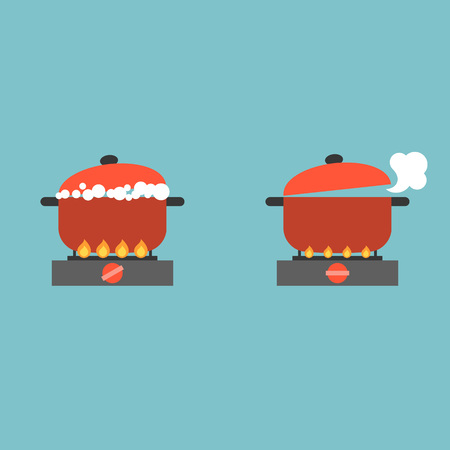 boiling pot on stove with bubble and steam, cooking concept flat design vector Vettoriali