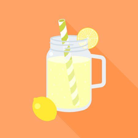 石工の瓶とレモン、フラット デザインのベクトルのスライスでレモネード