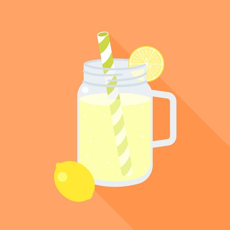 Lemonade in mason jar and slice of lemon, flat design vector