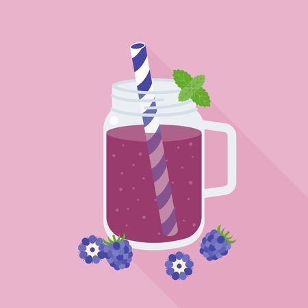 mason: Blackberries smoothie in mason jar glass, flat design