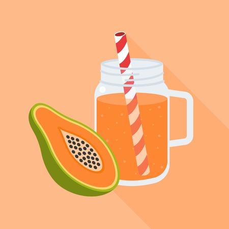 Papaya smoothies in mason jar, flat design vector