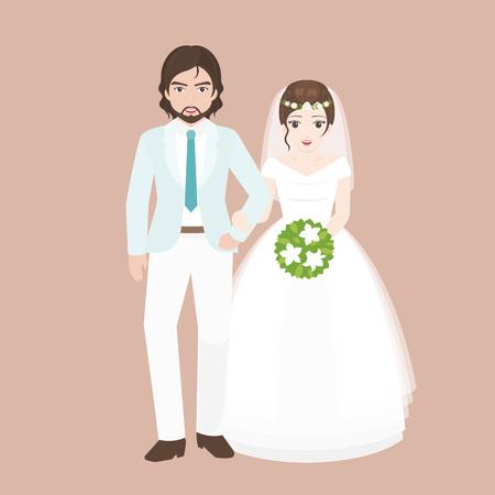 ブリッジ、恋人カップル結婚式の衣装コンセプトは、フラット デザインのベクトルと新郎徒歩腕