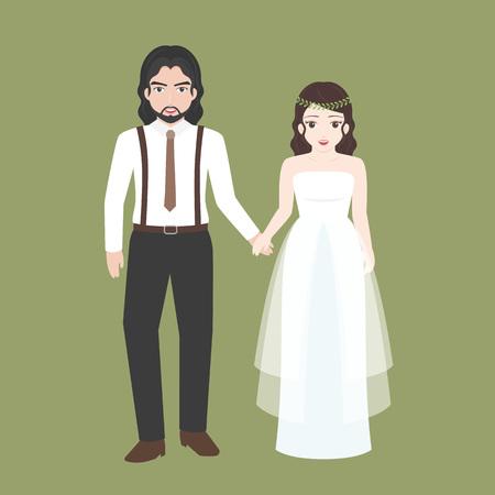 新郎のブリッジ、恋人カップル結婚式の衣装コンセプトは、フラット デザインのベクトルと手を握って
