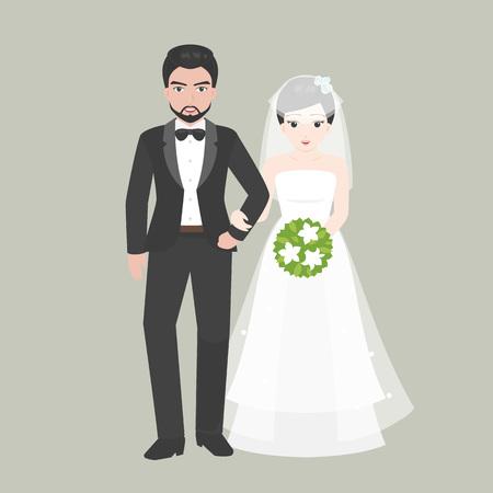arm bouquet: Groom walk arm in arm with Bridge, lover couple in wedding costume concept, flat design vector Illustration