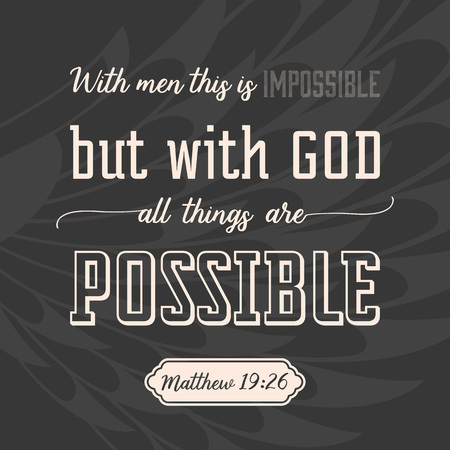with god all things are possible on wings background, verse from bible in calligraphic for use as background, poster or design t shirt Vectores