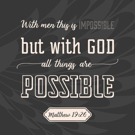 Con Dios, todo es posible en el fondo de las alas, el verso de la Biblia en caligráfico para usar como fondo, póster o camiseta de diseño Ilustración de vector