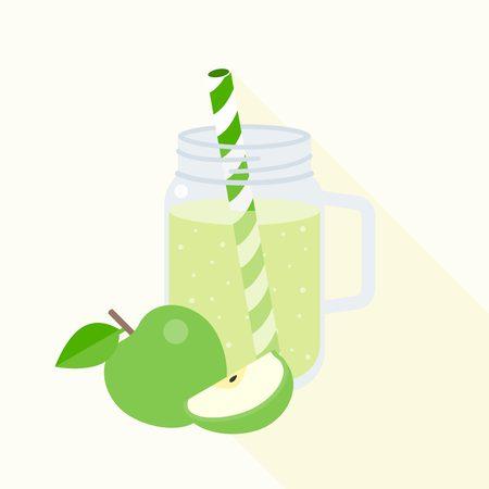 mason: green apple smoothie in mason jar, flat design vector Illustration