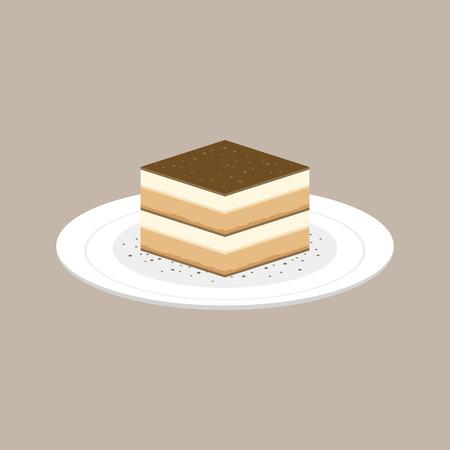Tiramisu Kuchen italienischen Dessert in Platte, flachen Design Vektor Standard-Bild - 80757704