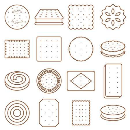 Cookie, cracker and biscuit outline icon set 2 Ilustrace