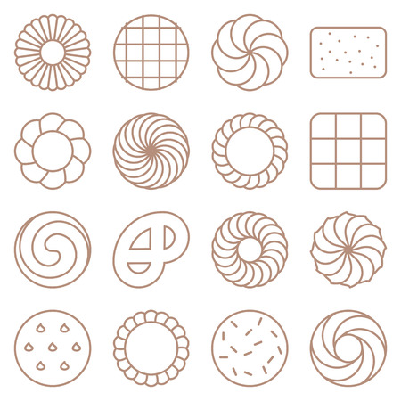 Cookie, cracker and biscuit outline icon set.