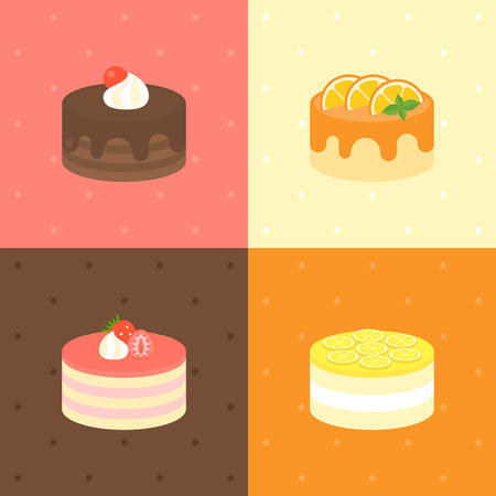 chocolate fudge, orange , lemon layer cake, strawberry cheese cake in flat design Illustration