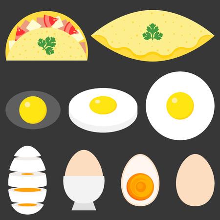 collection of fried eggs, omelette, boiled egg, slice of egg, flat design