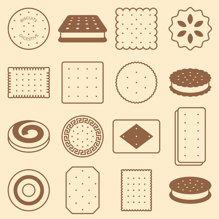 cookie, cracker and biscuit, silhouette icon collection set 23