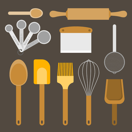 Bakery equipment and utensils, such as measurement spoon, whisk, flour sifter, spatula, rolling pin, dough and bowl scraper, wooden spoon, flat design vector Ilustração
