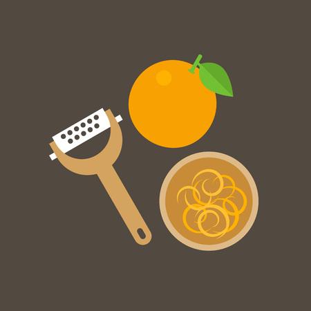 おろし金とボウル、フラットなデザインのアイコンでオレンジ色の皮