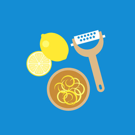 レモン、おろし器、木製ボウル、フラットなデザインのアイコンにレモン