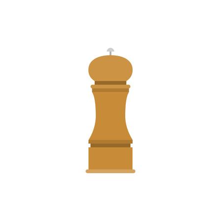 Wooden grinder for salt and pepper, flat design icon Illustration