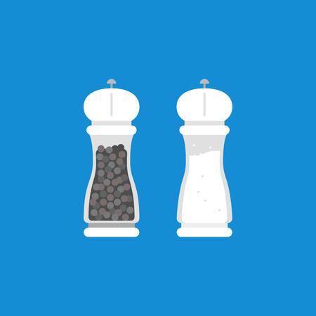 Pepper grinder and salt grinder in flat design Illustration