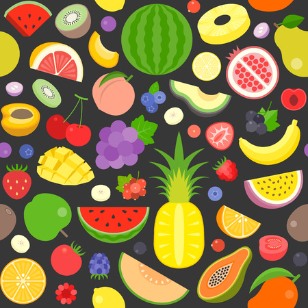 Seamless pattern of various fruits, watermelon, pine apple, strawberry, berries, flat design suitable for banner or backdrop