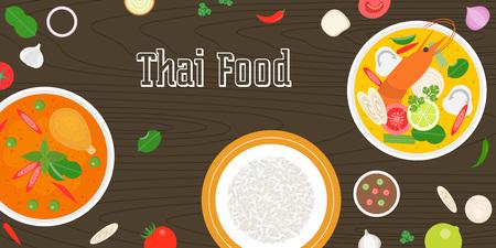 Thai food and fresh ingredients on wooden background, flat design vector for banner, website cover or backdrop Illustration