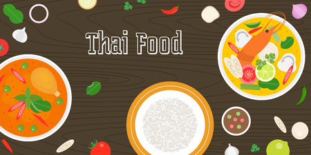 curry rice: Thai food and fresh ingredients on wooden background, flat design vector for banner, website cover or backdrop Illustration