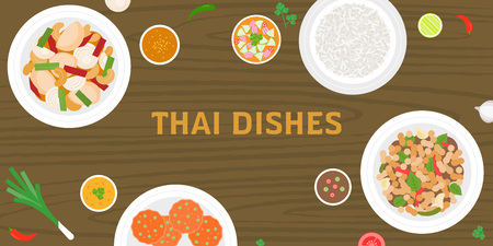 THAI dishes on wooden background, pork fried with sweet basil, jasmine rice, fish cakes, sour chilli beef salad in thai style, side dishes and chilli sauce, suitable for banner or poster Illustration